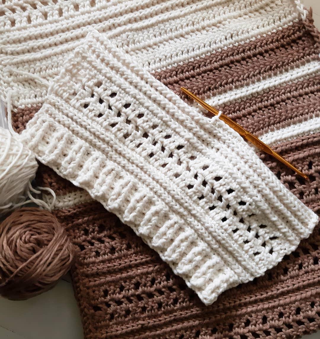 cream crochet piece on brown