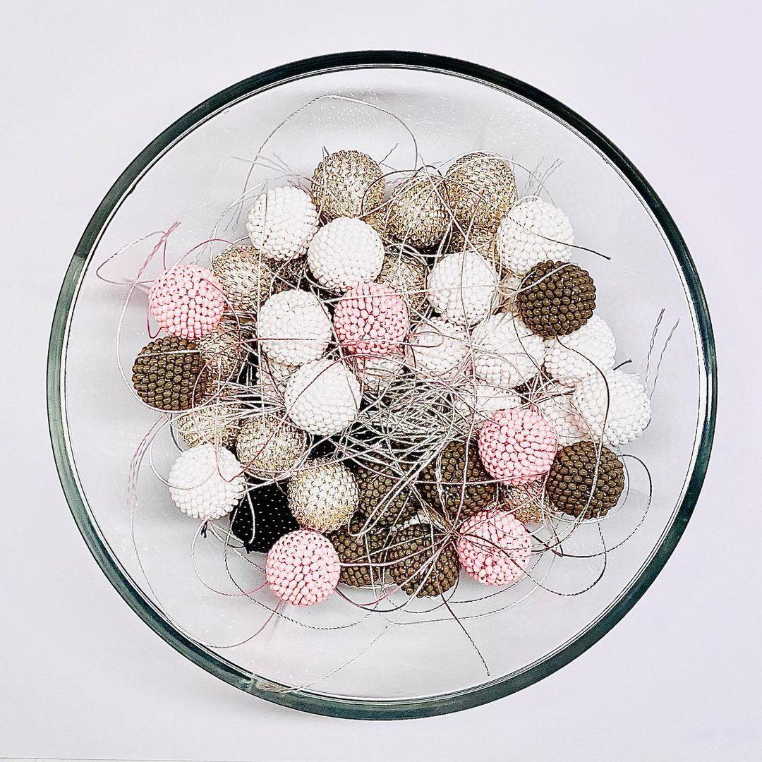 bead crochet balls in a bowl