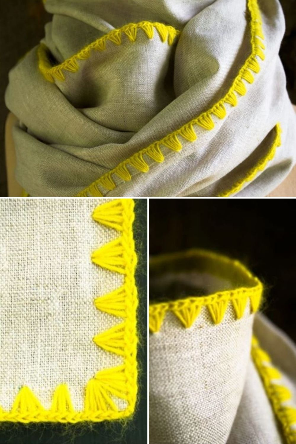 natural linen with bright yellow trim