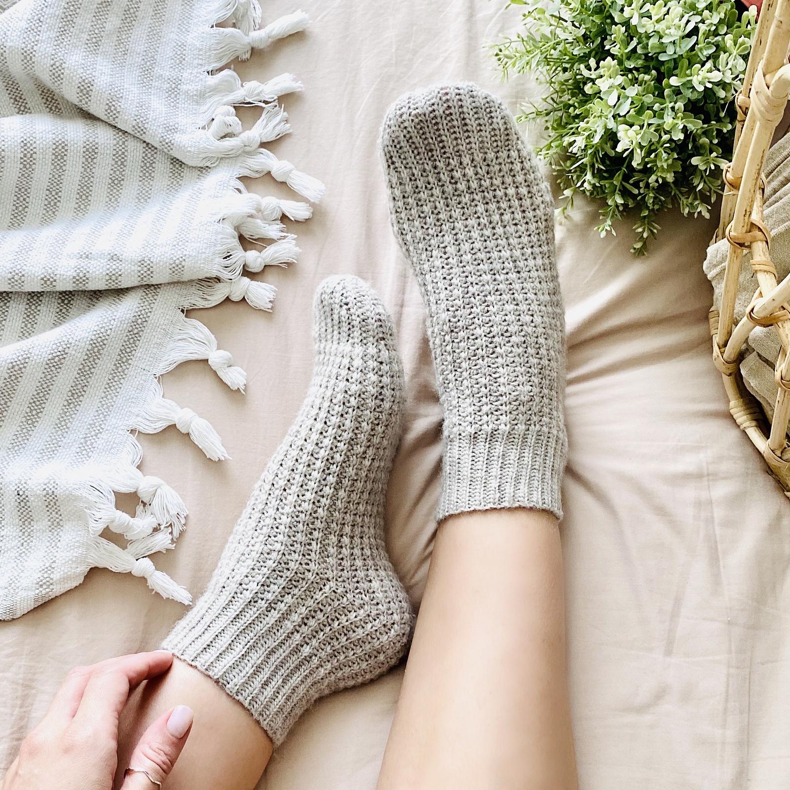 grey crochet socks