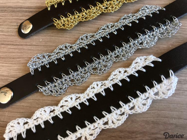 three leather bracelets with trim