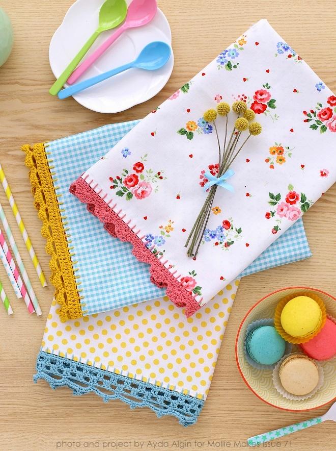 three textile napkins with trims
