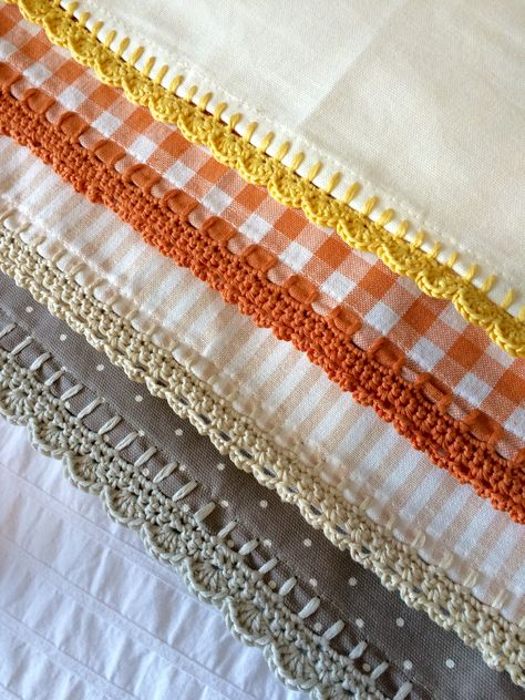 pile of napkins with crochet trim
