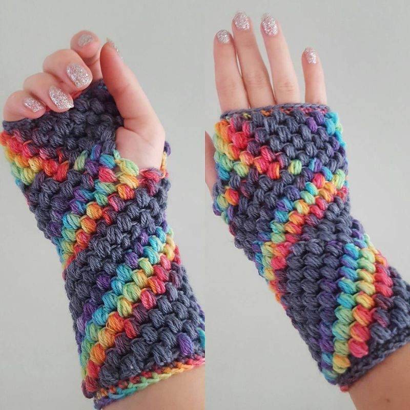 Puff Stitch Fingerless Gloves by Hooked by Robin