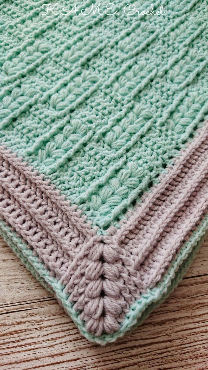 Puffs and Hugs Baby Blanket by K.A.M.E. Crochet by Krisztina Anna Matejcsok-Edomer