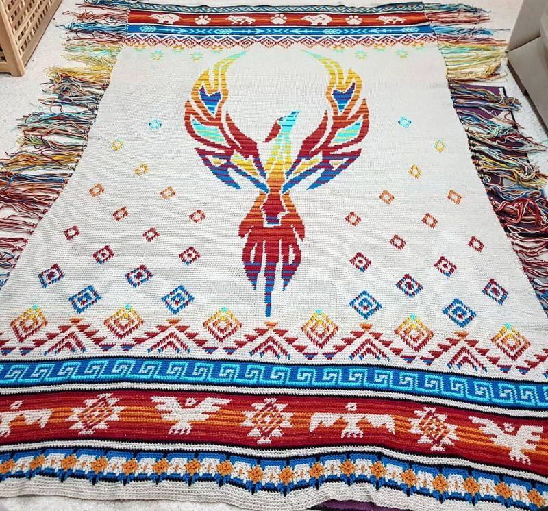 Phoenix Rising Blanket by Helen Coe aka Silverarcheress