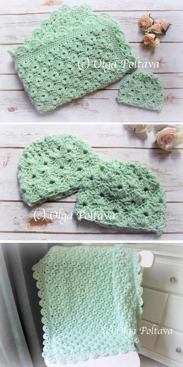 Cupcake Shells Blanket and Hat Crochet Pattern