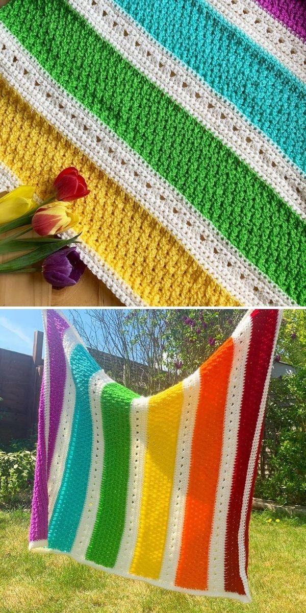 colorful striped crochet blanket