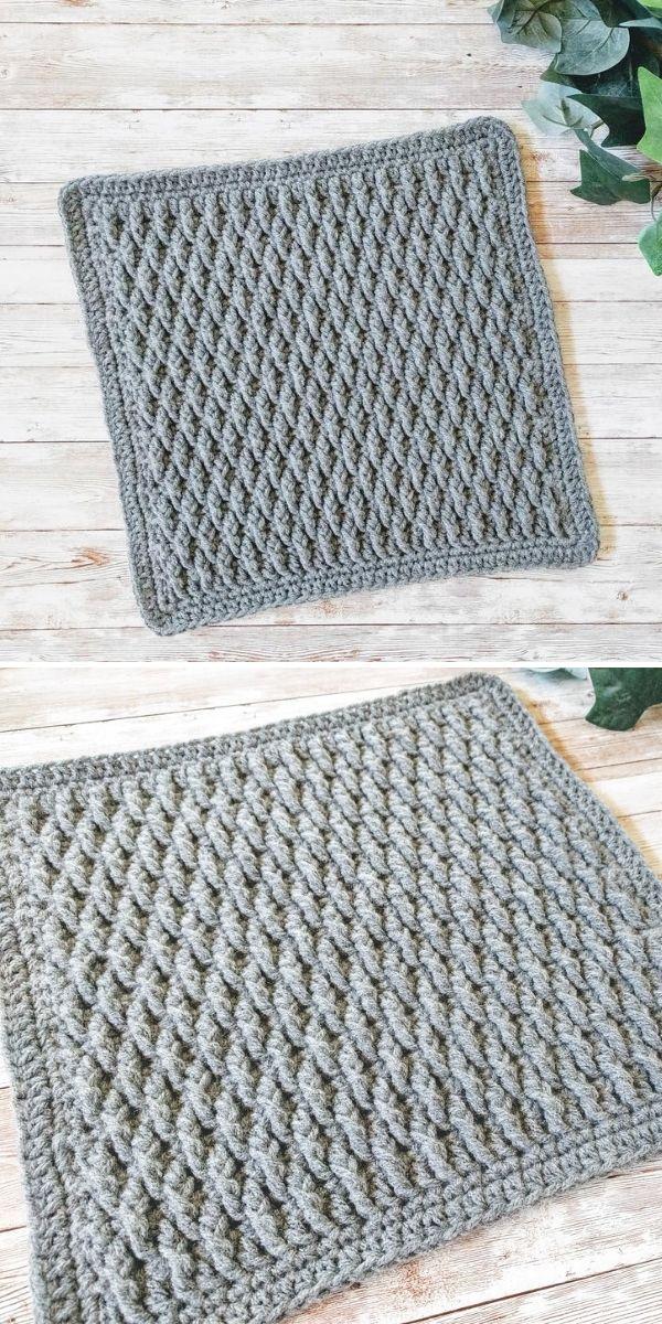 grey crochet square