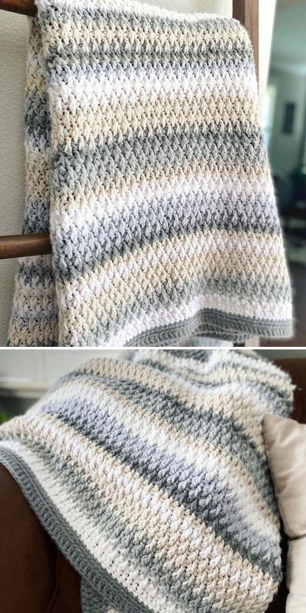 pastel striped crochet blanket