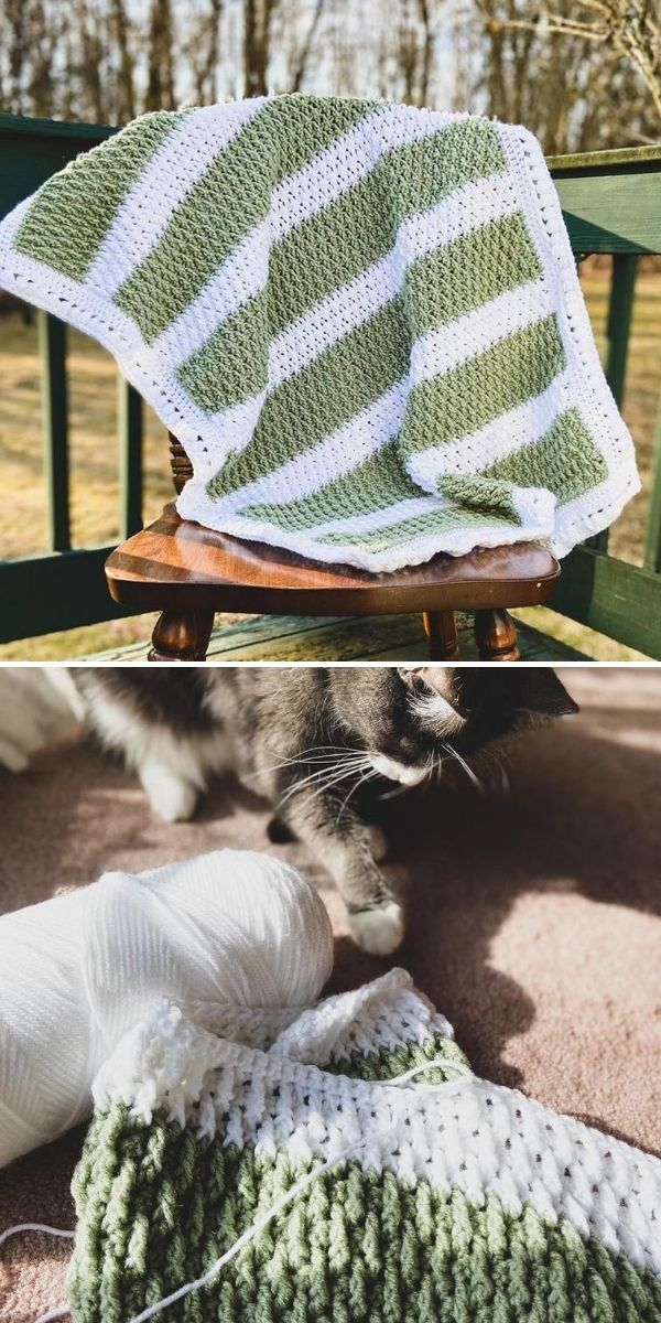 striped green and white crochet blanket