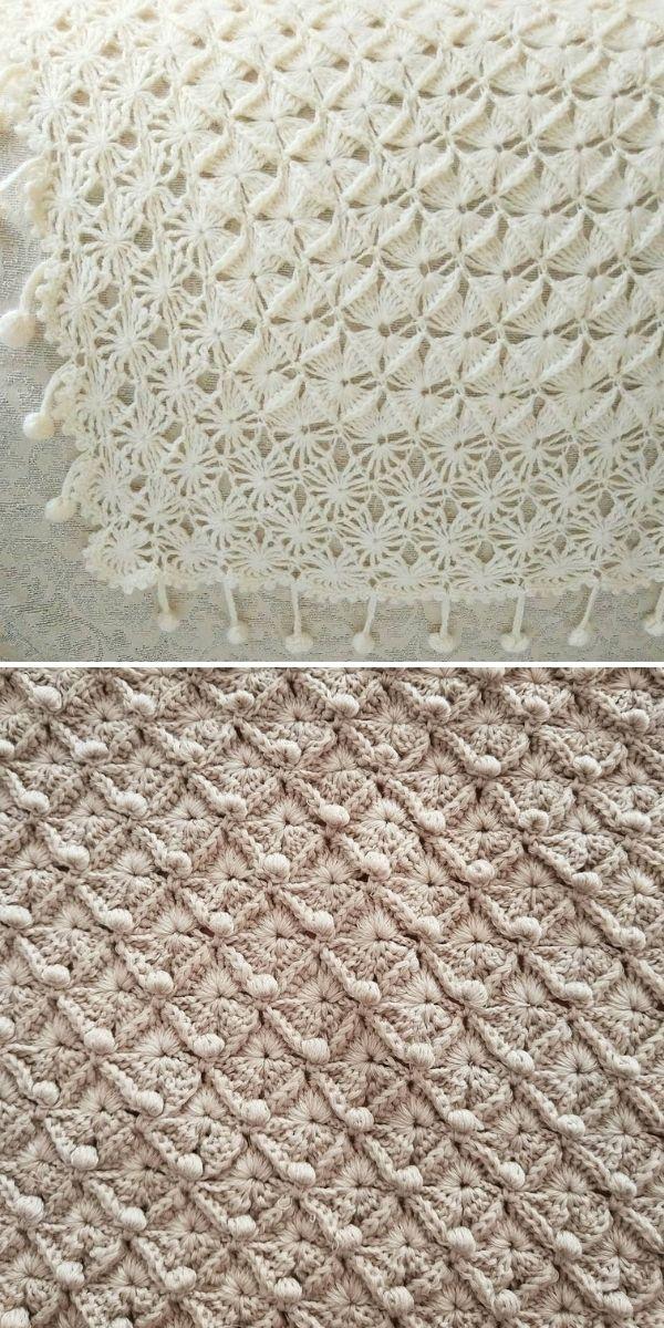 white lacy crochet blanket