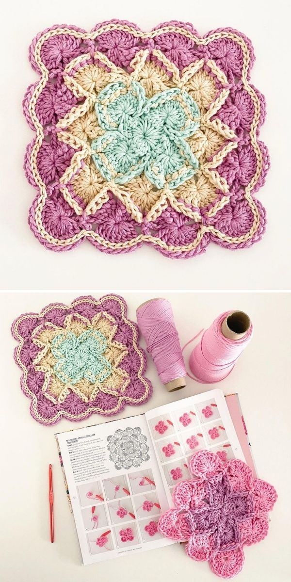 crochet square, magazine and thread