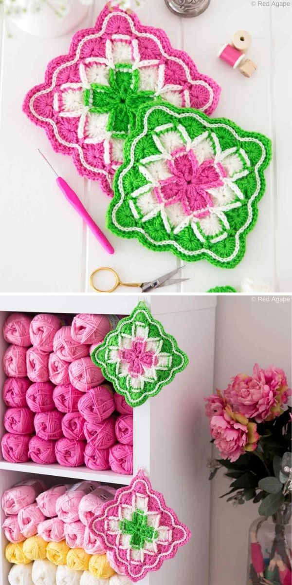 Bavarian Stitch Potholders Crochet Pattern