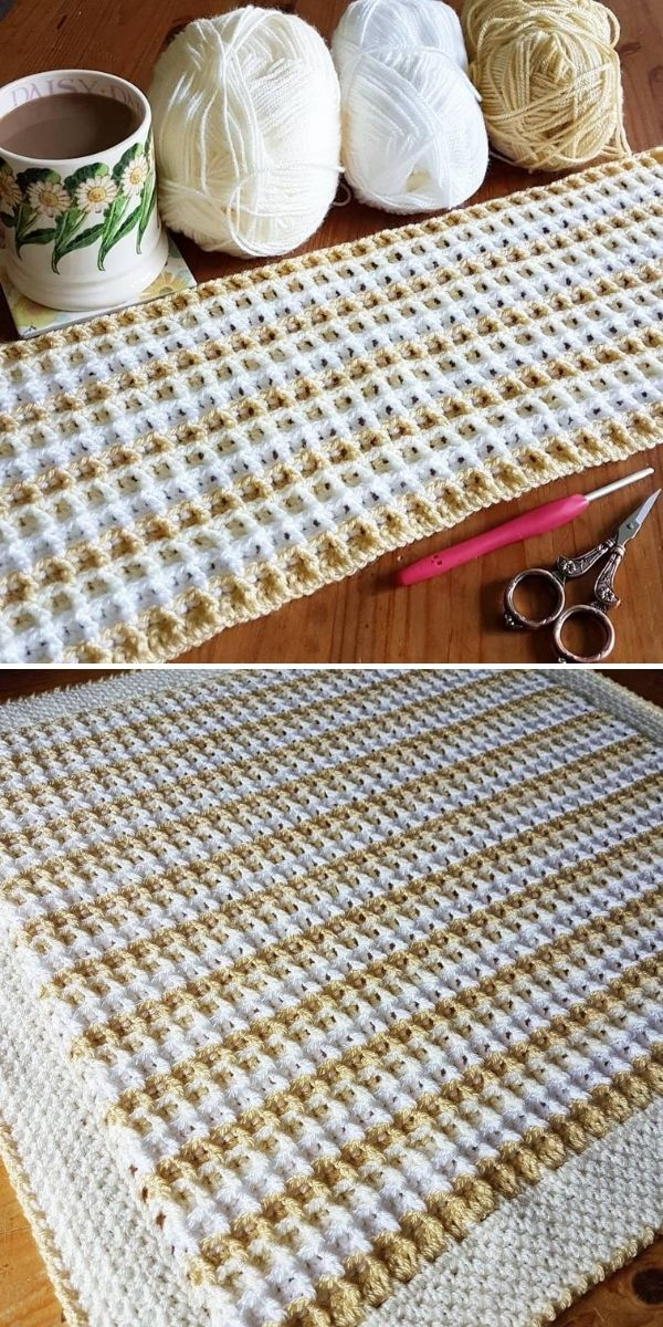 white and cream waffle blanket