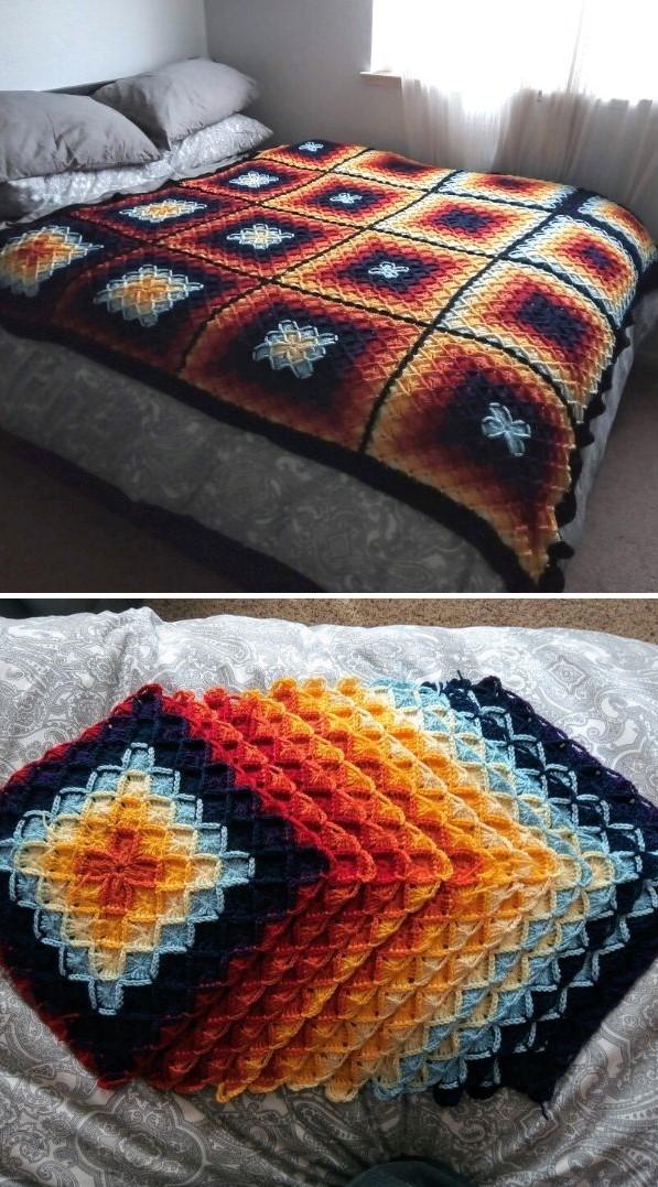 crochet bedspread in deep colors