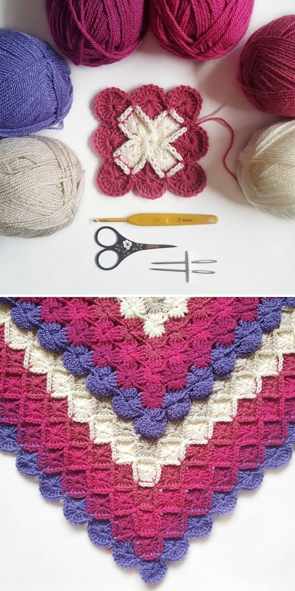 little pink square and yarns