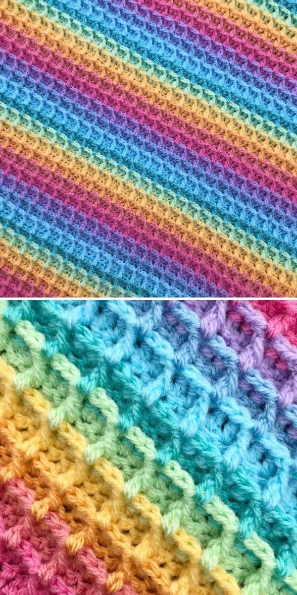 rainbow waffle blanket