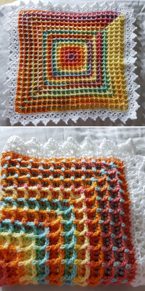 colorful baby blanket with white border