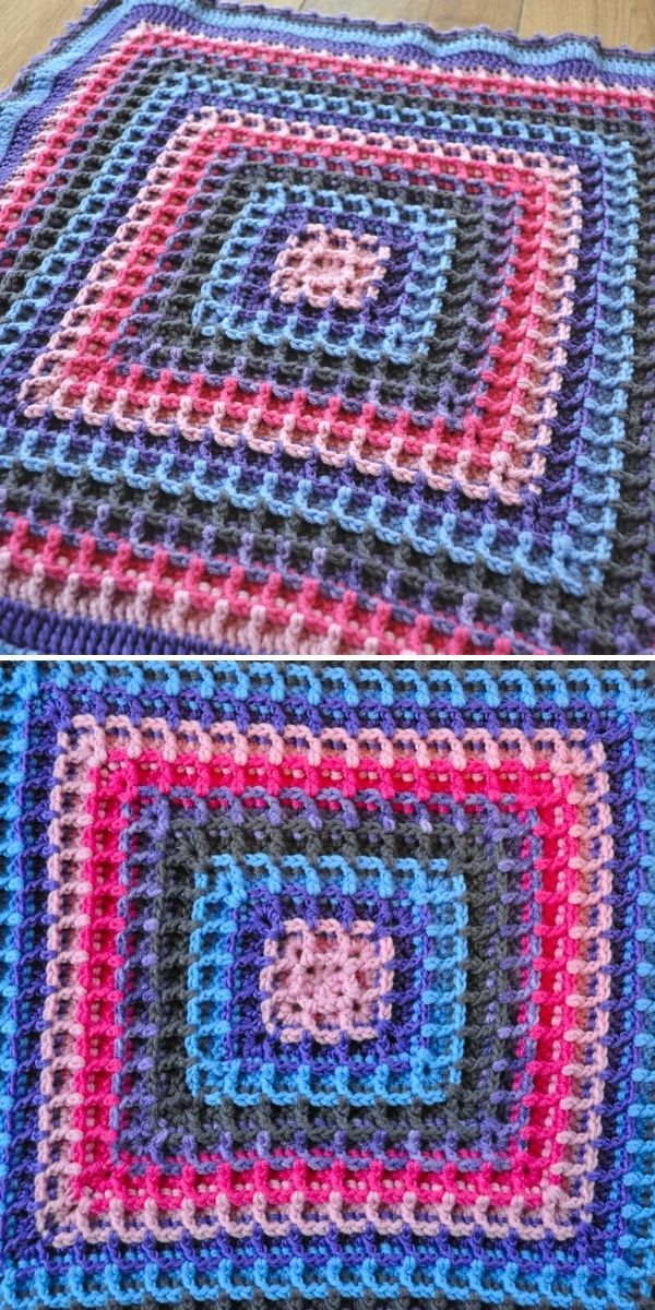 square blanket in waffle stitch
