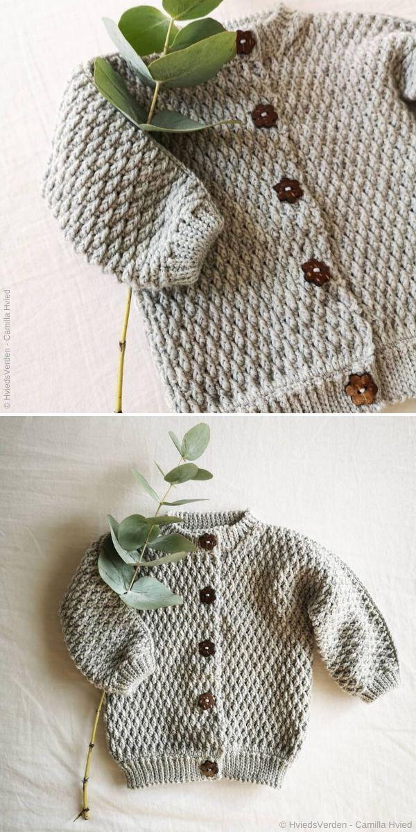 Alpine Stitch Baby Cardigan by HviedsVerden