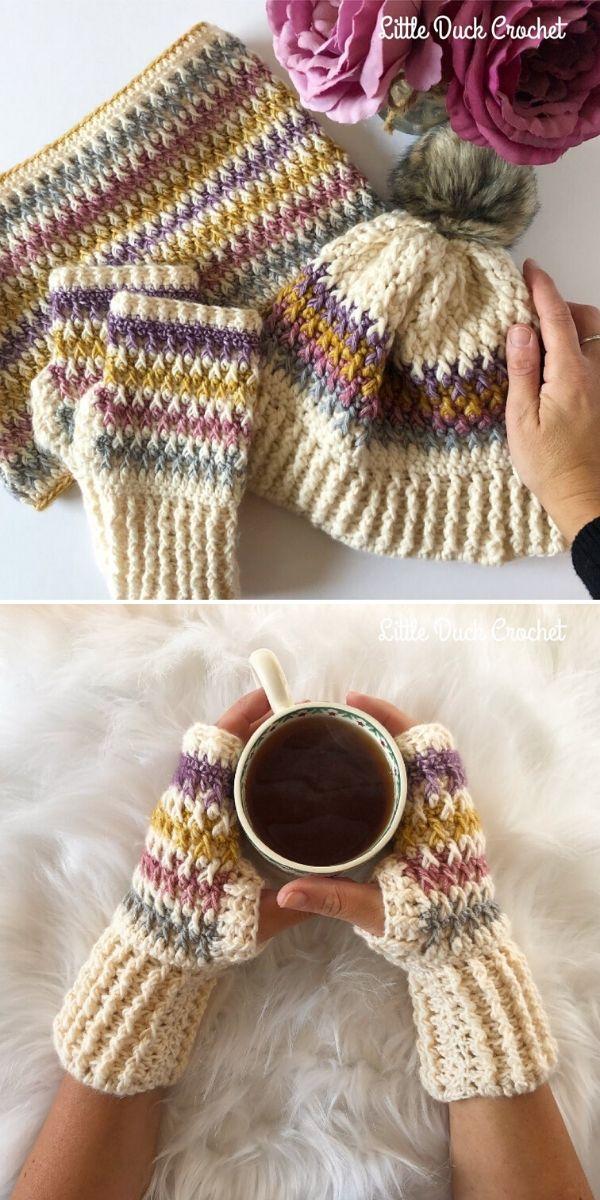 Alpine Stitch Fingerless Gloves by Little Duck Crochet