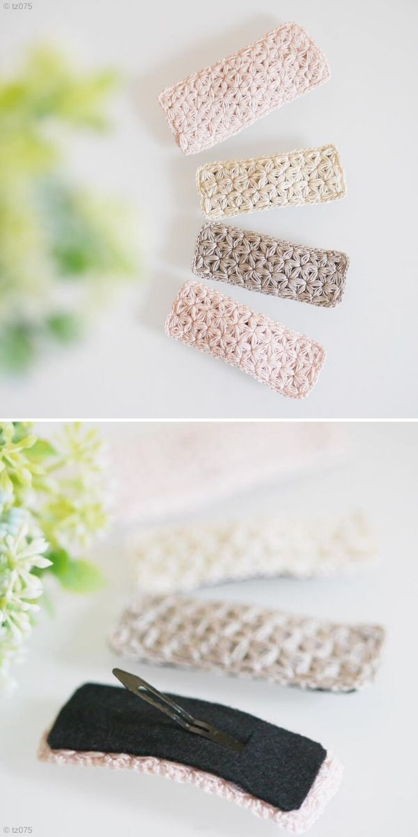 Jasmine Stitch Crochet Hair Clips by tz075