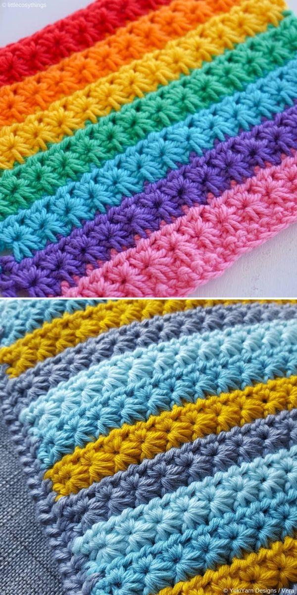 Rainbow Star Stitch by LittleCosyThings and YukiYarn Designs