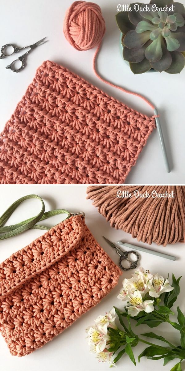 Star Stitch Clutch by Little Duck Crochet