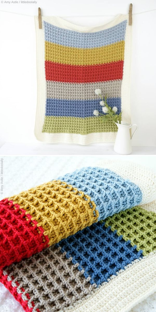 Waffle Stitch Blanket by Amy Astle / littledoolally