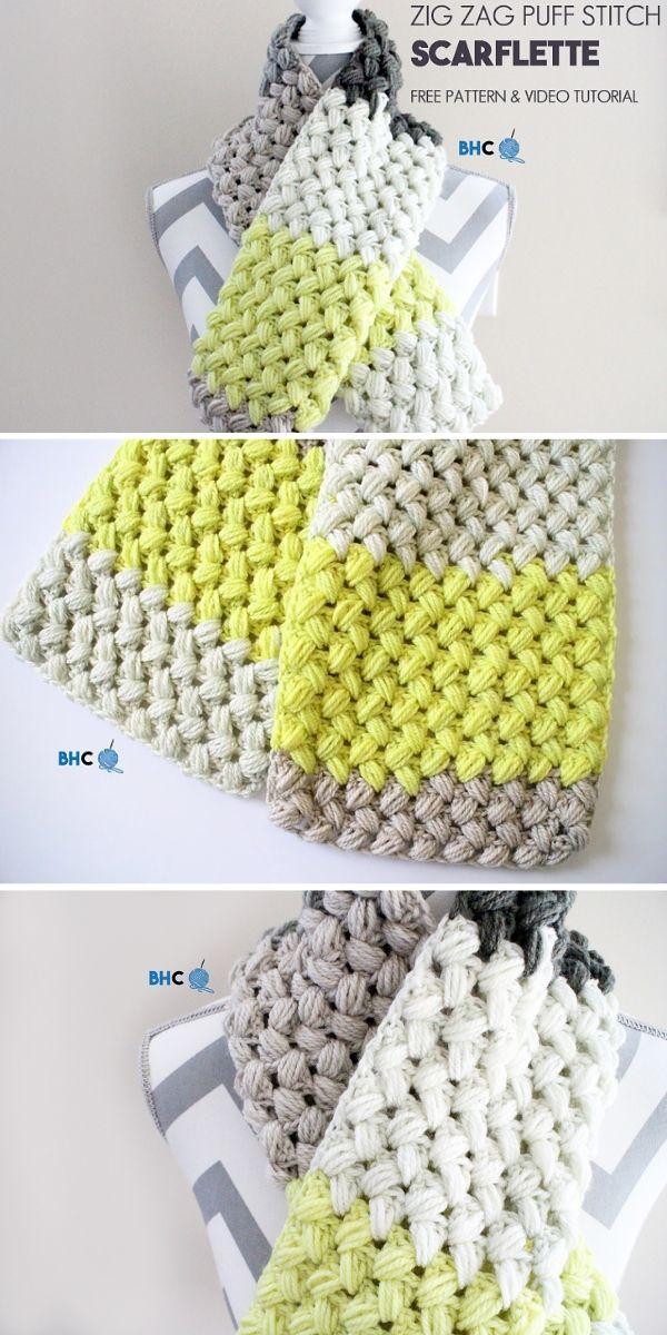 Zig Zag Puff Scarf Free Crochet Pattern