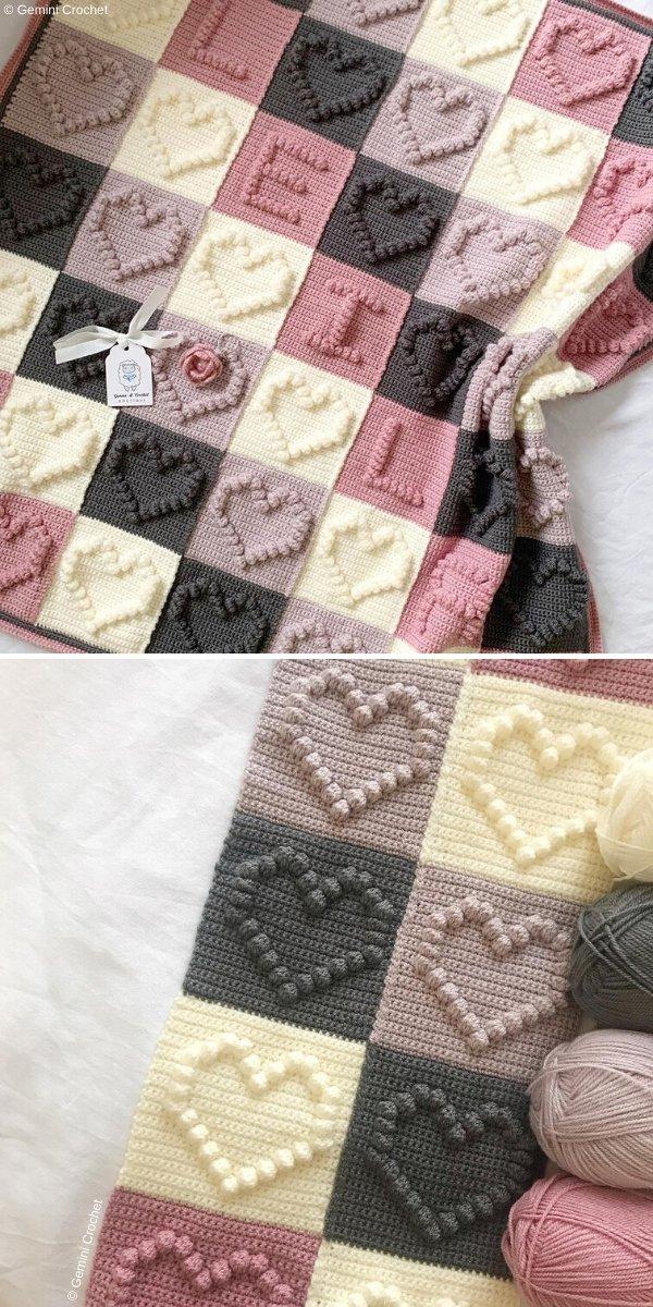 Bobble Heart Blanket by Gemini Crochet