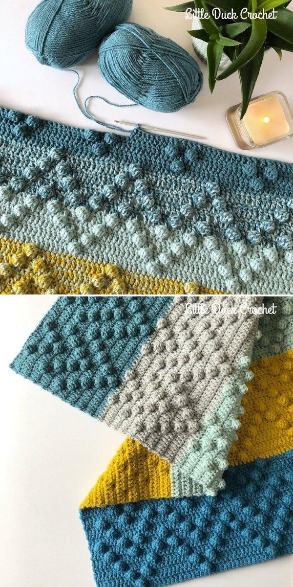 Chevron Bobble Blanket by Little Duck Crochet