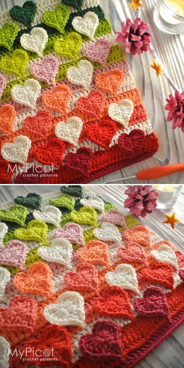 Crochet Heart Stitch Free Pattern by MyPicot
