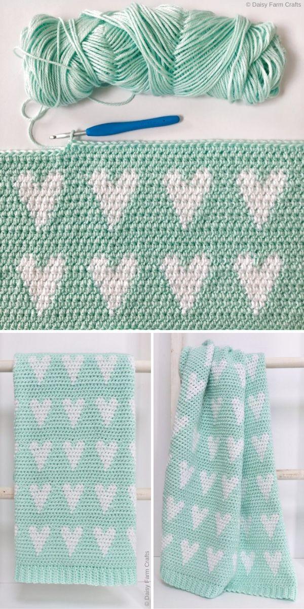 Crochet Modern Hearts Baby Blanket Free Pattern by Daisy Farm Crafts