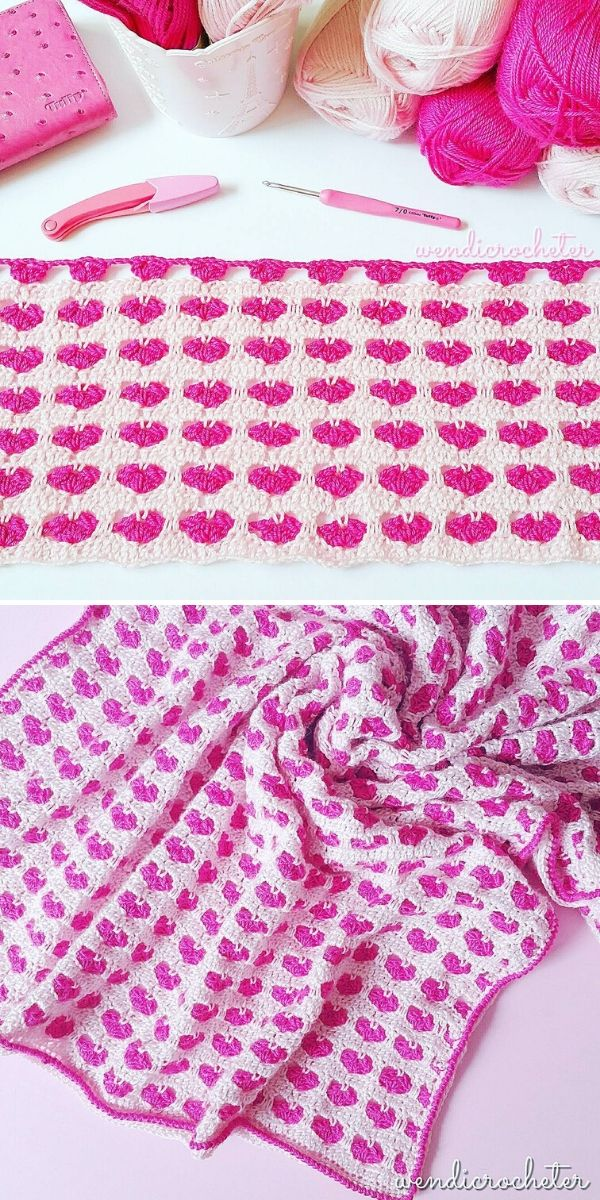 Heart Stitch Blanket by Wendi Chong aka wendicrocheter