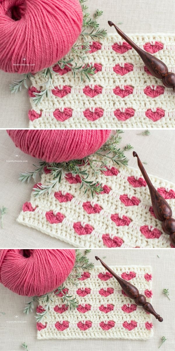 How To Crochet The Heart Stitch Free Tutorial by Hopeful Honey