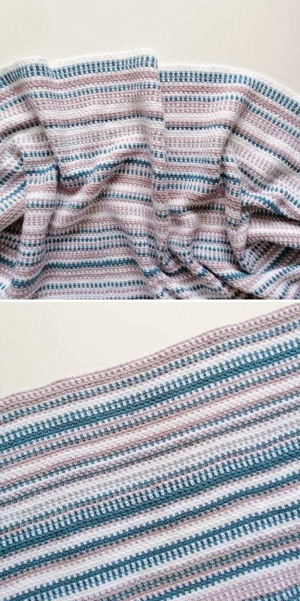 soft colors moss stitch blanket