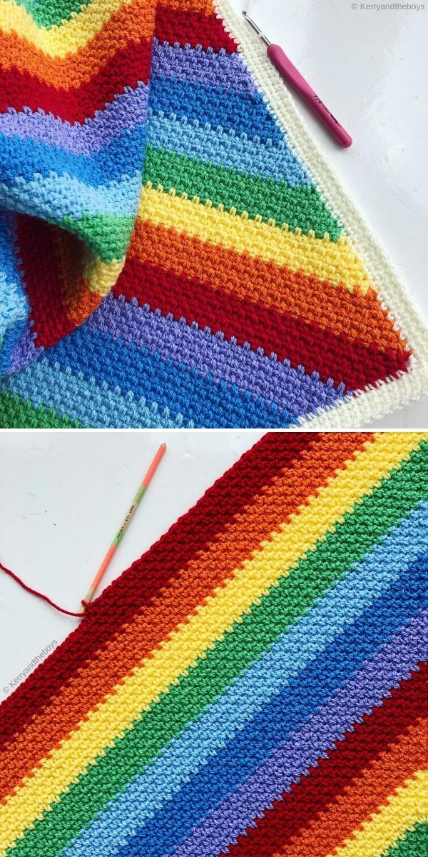 Moss Stitch Blanket by Kerry and The Boys