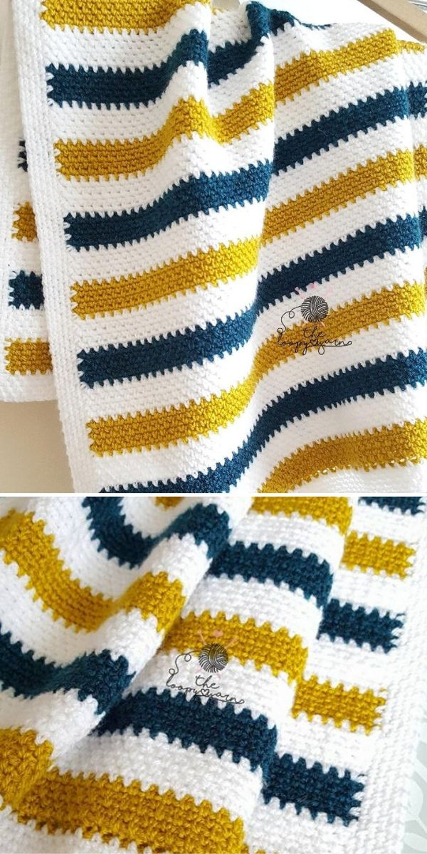 Moss Stitch Blanket by The Loopy Yarn2