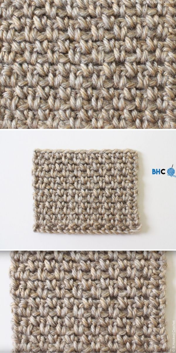 Moss Stitch Linen Stitch Crochet Tutorial by B Hooked Crochet