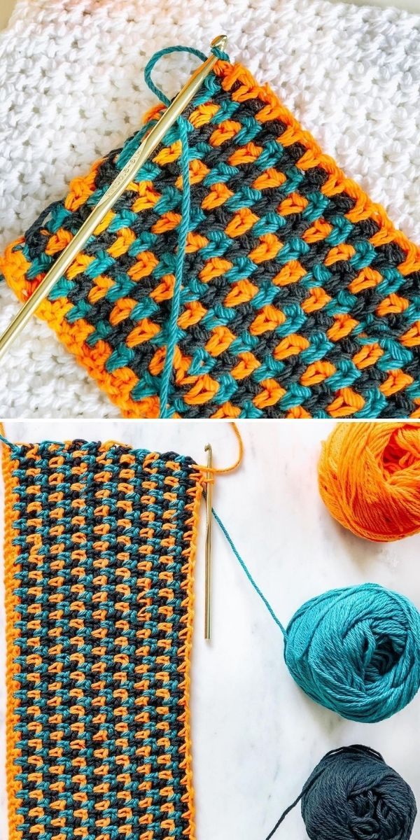 moss stitch in contrasting colors