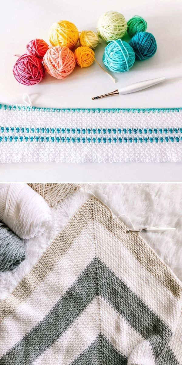 white and neutral moss stitch and colorful yarn balls