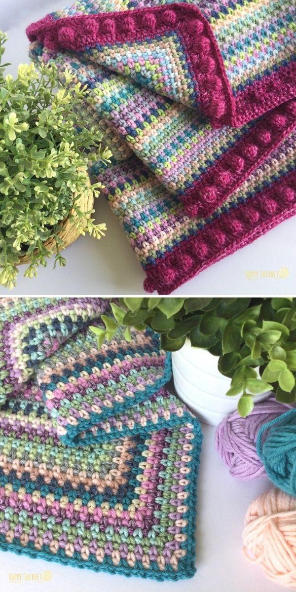dark hues scrap blanket in moss stitch