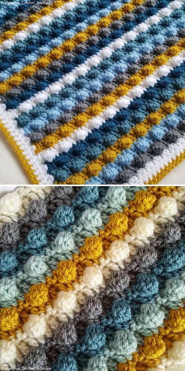 Striped Bobble Blanket by Mummys_Crochet_Boutique