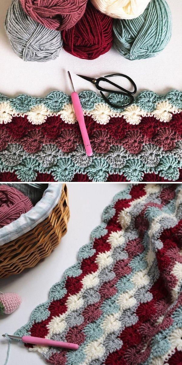 dark colored crochet blanket