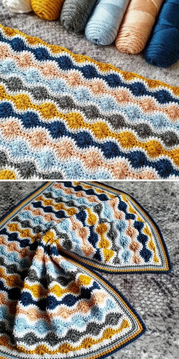 colorful crochet blanket with yarns