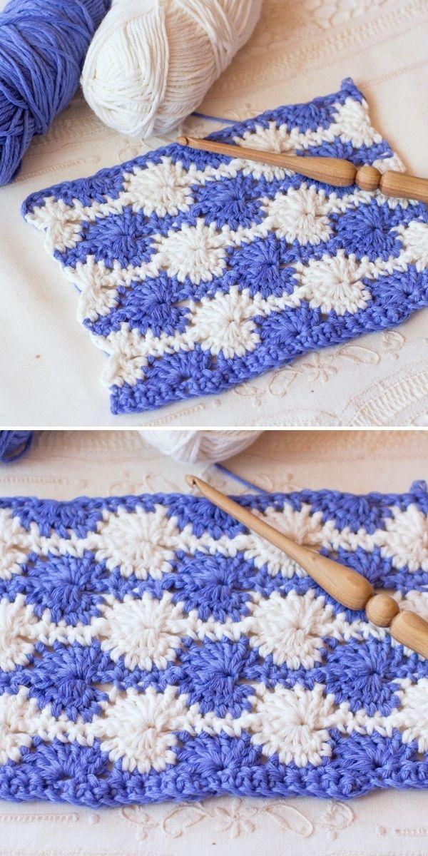 white and blue crochet stitch swatch
