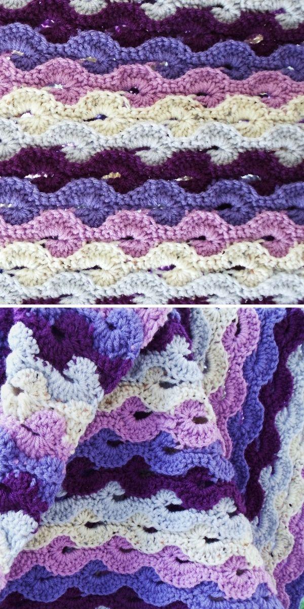 cream and violet catherine wheel crochet