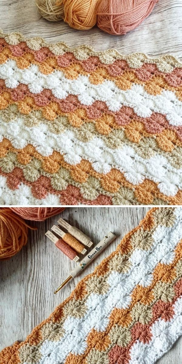 white and nude colors crochet blanket